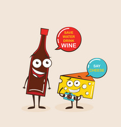 Cartoons of comic characters bottle of wine vector