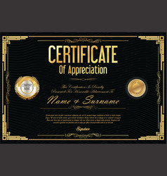 certificate retro design template 10 vector image