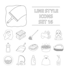 cleaning set icons in outline style big vector image vector image