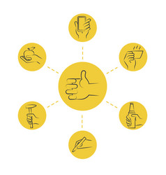 Cool thin line concept - hand icons with tools and vector