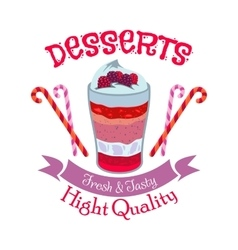 Creamy fruit dessert symbol for cafe menu design vector