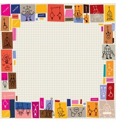 Cute robots collage doodle border vector