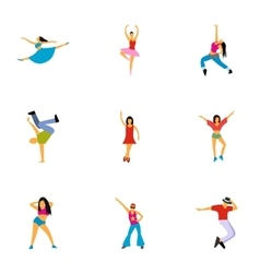 Dance styles icons set flat style vector
