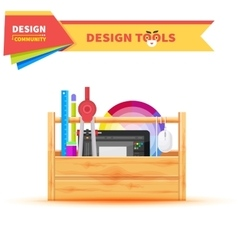 Design tools in wood box graphic tablet vector