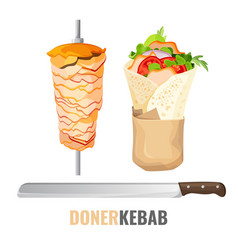Doner kebab promo poster with meet on skewer and vector