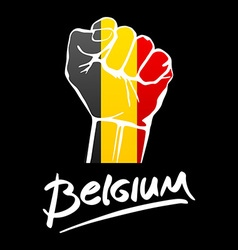 Fist of Belgium flag painted multi purpose concept vector image vector image