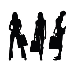 girl with suitcase silhouette vector image vector image