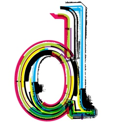 Grunge colorful font Letter d vector image