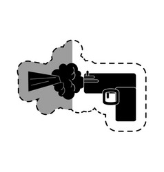 Gun shoot comic art icon vector