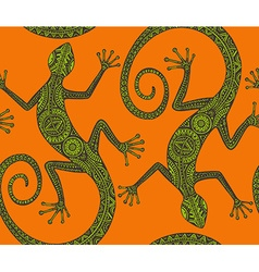 hand drawn seamless pattern with monochrome lizard vector image vector image