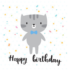 happy birthday cute little kitty greeting card vector image vector image