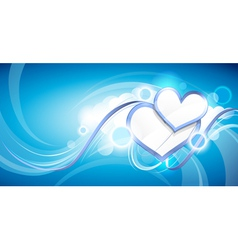 hearts in clouds vector image vector image