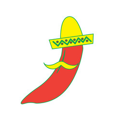Hot mexican chili pepper with hat and mustache vector