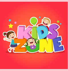 Kids zone banner design children playground area vector