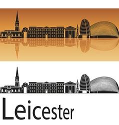Leicester skyline in orange background vector image vector image