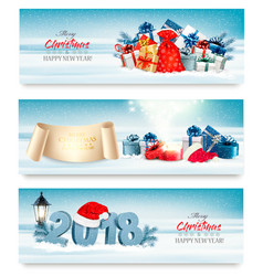 Merry christmas banners with magic box and vector