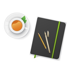 Notebook with pen and cup of tea vector image vector image