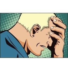 People retro style upset man clutching his head vector