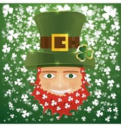 Portrait of Leprechaun Irish man with clover leaf vector image vector image