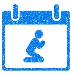 Pray person calendar day grainy texture icon vector