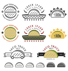 Retro Mexican taco design elements vector image vector image