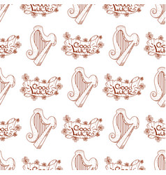 Seamless pattern with a harp and a banner of good vector
