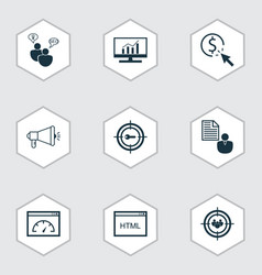 Seo icons set includes icons such as keyword vector