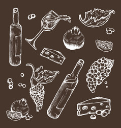 Set of sketches beverage and food on a dark vector