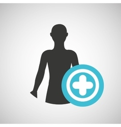 silhouette man health icon cross vector image
