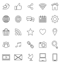 Social media line icons on white background vector image