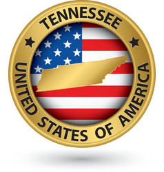 Tennessee state gold label with state map vector