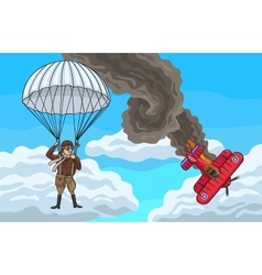 The biplane crashed vector