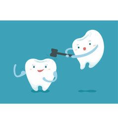 Tooth knock tooth but be strong vector
