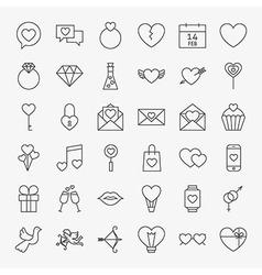 Valentine Day Line Icons Big Set vector image