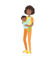 Young mother with baby son in a sling vector