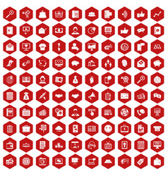 100 viral marketing icons hexagon red vector image vector image