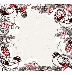 Vintage hand drawn Christmas background vector image