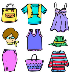 art of clothes set women doodles vector image