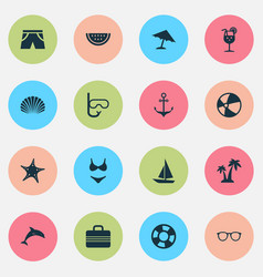 hot icons set collection of melon dinghy vector image