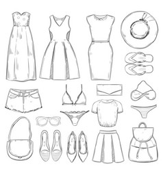 hand drawn female summer clothes set vector image