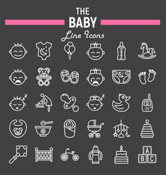 baby line icon set kid symbols collection vector image