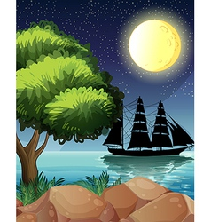 A black ship at the sea under the bright moon vector