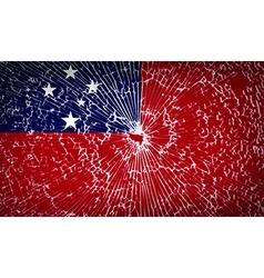 Flags samoa with broken glass texture vector