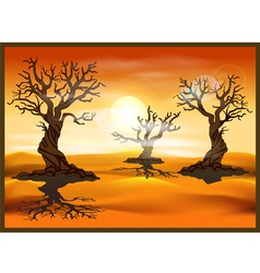 Desert landscape with dead trees vector