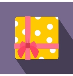 Yellow gift box with pink ribbon flat icon vector