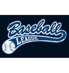 Blue baseball league banner with ball vector
