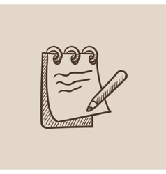 Notepad with pencil sketch icon vector
