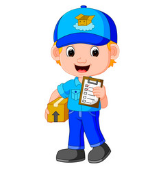 a delivery person delivering a package vector image vector image