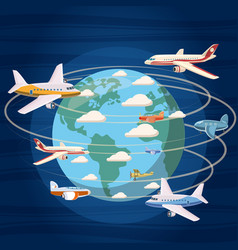 Airplanes around the world concept cartoon style vector
