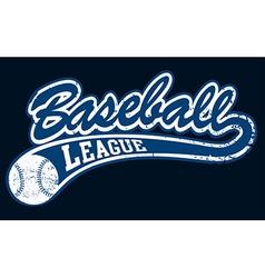 Blue baseball league banner with ball vector image